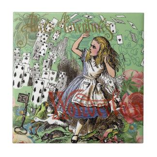 Alice in Wonderland Vintage Card party Tile