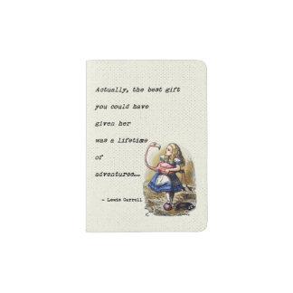 Alice In Wonderland W/Flamingo Adventure Quote Passport Holder