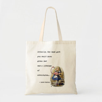 Alice In Wonderland W/Flamingo Adventure Quote Tote Bag