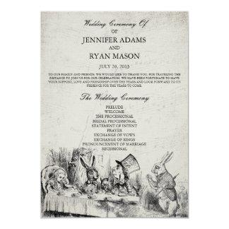 Alice in Wonderland Wedding Program 13 Cm X 18 Cm Invitation Card