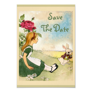 Alice in Wonderland Wedding Save the Date 9 Cm X 13 Cm Invitation Card