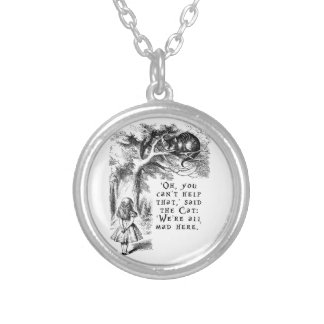Alice in Wonderland - We're all mad here Silver Plated Necklace