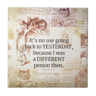 Alice in Wonderland Whimsical Quote Small Square Tile