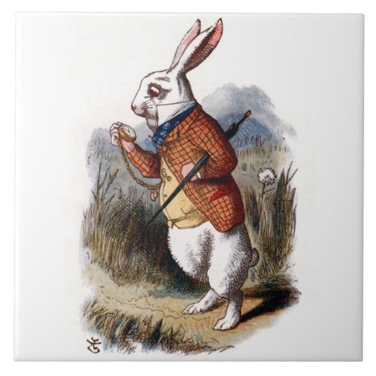 Alice in Wonderland White Rabbit Art Tile Trivet