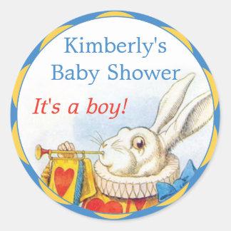 Alice in Wonderland White Rabbit Boy Baby Shower Classic Round Sticker