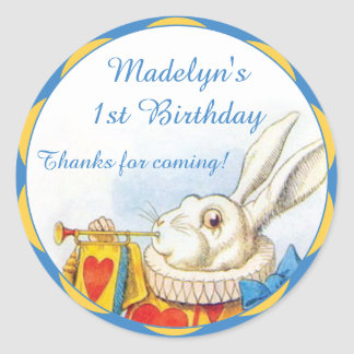 Alice in Wonderland White Rabbit First Birthday Classic Round Sticker