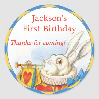 Alice in Wonderland White Rabbit First Birthday Round Sticker