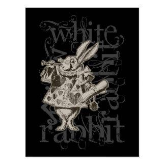 Alice In Wonderland White Rabbit Grunge (Single) Postcard