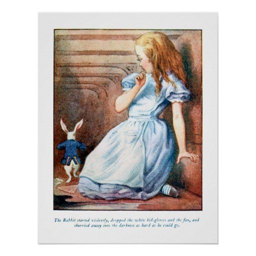 Alice in Wonderland White Rabbit Hole Print Poster