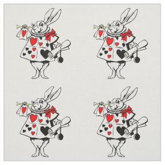 Alice in Wonderland White Rabbit Red Black Hearts Fabric