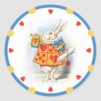 Alice in Wonderland White Rabbit Round Stickers