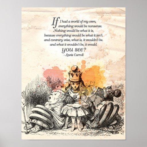 "Alice in Wonderland ""World of my Own"" Poster"