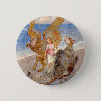 Alice Listens to the Griffin and the Mock Turtle 6 Cm Round Badge
