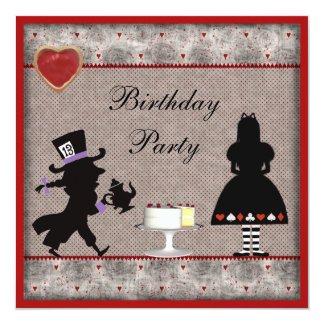 Alice & Mad Hatter Birthday Party Invites