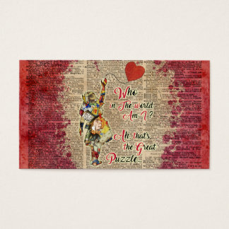 Alice,Mad Hatter &Rabbit Vintage Collage Quote Business Card