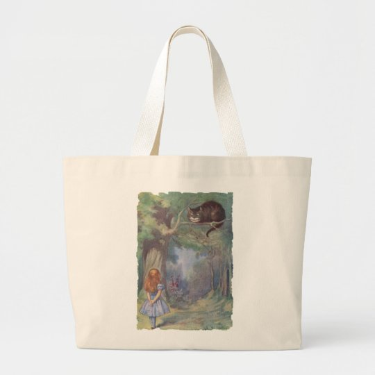Alice meets Cheshire Cat Large Tote Bag