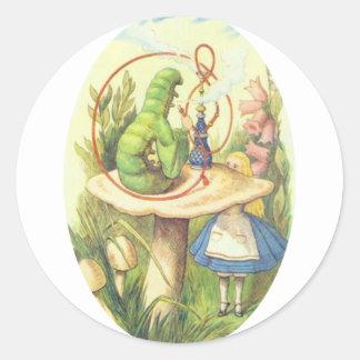 Alice Meets the Caterpillar Round Sticker