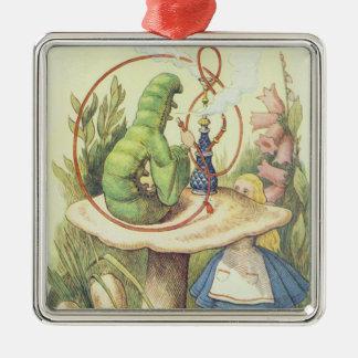 Alice Meets the Caterpillar Silver-Colored Square Decoration