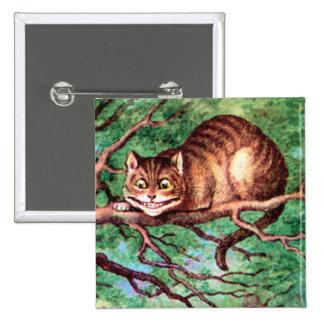 Alice Meets The Cheshire Cat in Wonderland 15 Cm Square Badge