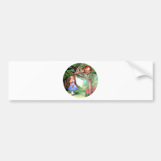 Alice Meets the Cheshire Cat in Wonderland Bumper Stickers