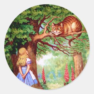 Alice Meets The Cheshire Cat in Wonderland Round Sticker