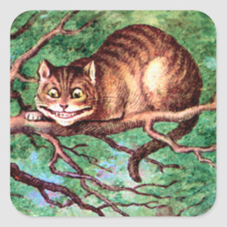 Alice Meets The Cheshire Cat in Wonderland Square Sticker