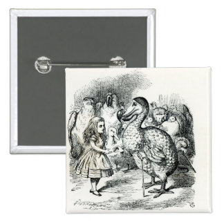 Alice meets the Dodo 15 Cm Square Badge
