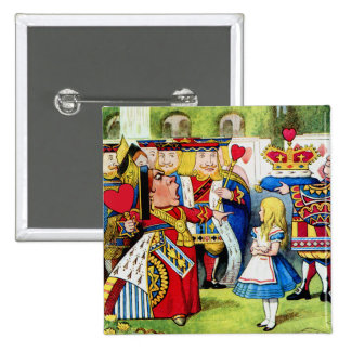 Alice Meets the Queen of Hearts in Wonderland 15 Cm Square Badge