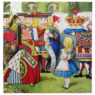 Alice Meets the Queen of Hearts in Wonderland Napkin