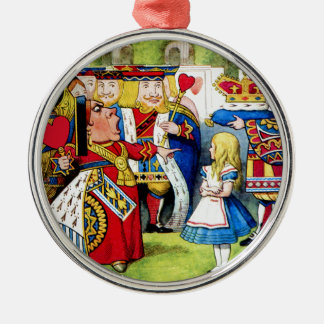 Alice Meets the Queen of Hearts in Wonderland Silver-Colored Round Decoration