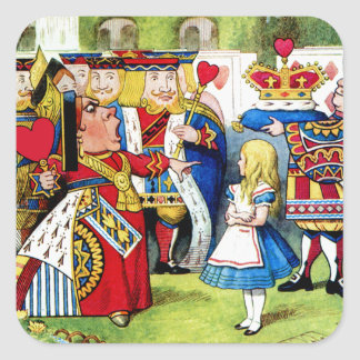 Alice Meets the Queen of Hearts in Wonderland Square Sticker