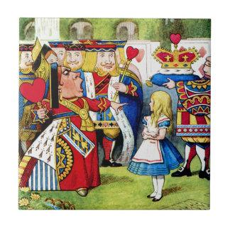 Alice Meets the Queen of Hearts in Wonderland Tile