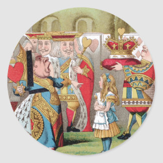 ALICE MEETS THE QUEEN OF HEARTS ROUND STICKER