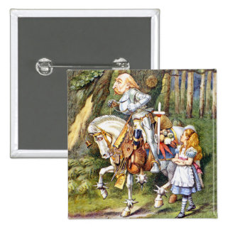 Alice Meets the White Knight in Wonderland 15 Cm Square Badge