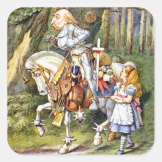 Alice Meets the White Knight in Wonderland Square Sticker
