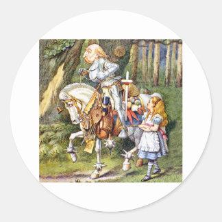 Alice Meets the White Knight in Wonderland Round Stickers