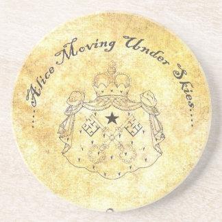 Alice Moving Under Skies Logo Sandstone Coaster