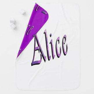 Alice, Name, Logo, Reversible Baby Blanket. Baby Blanket