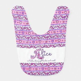 Alice name meaning heart flower pattern baby bib