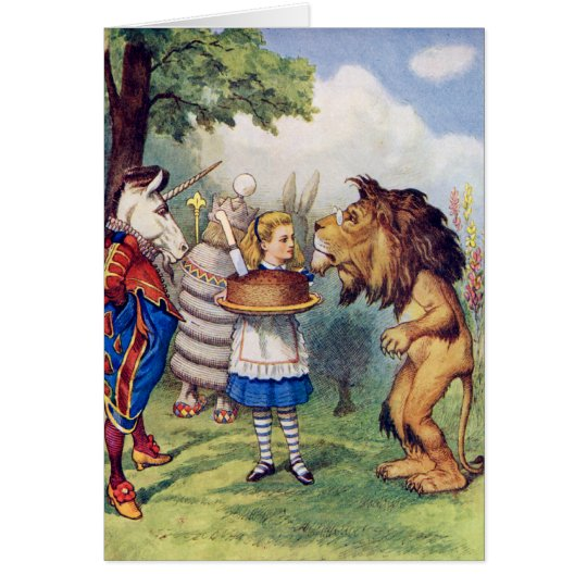 Alice Offers Cake to The Lion and The