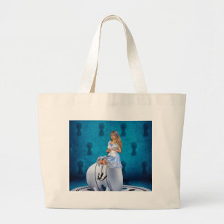 Alice on Teacup Large Tote Bag