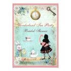 Alice & Pink Flamingo Bridal Shower Tea Party Card