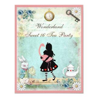 Alice, Pink Flamingo & Cheshire Cat Sweet 16 11 Cm X 14 Cm Invitation Card