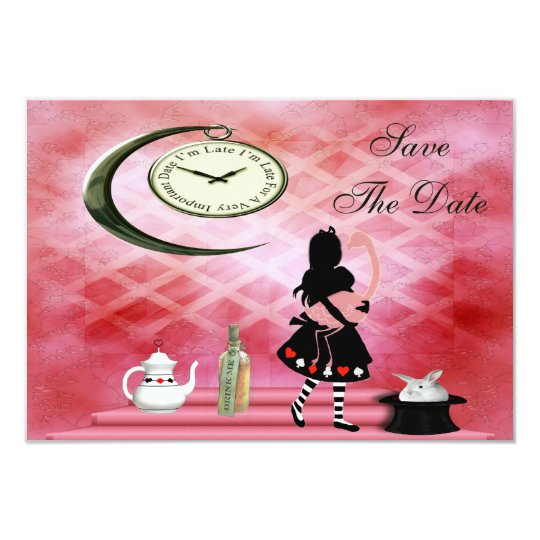 Alice & Pink Flamingo Wedding Save the Date