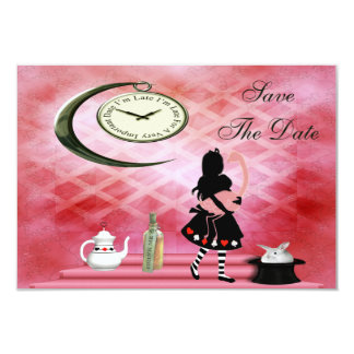 Alice & Pink Flamingo Wedding Save the Date Card