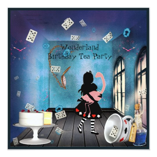 Alice & Pink Flamingo Wonderland Birthday Party Card