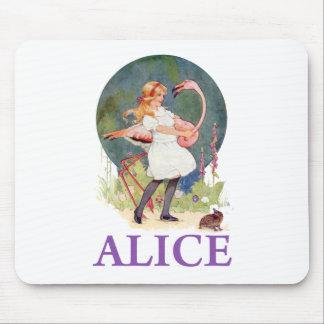 ALICE PREPARES TO  PLAY FLAMINGO CROQUET MOUSE PAD