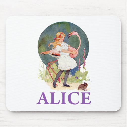 ALICE PREPARES TO  PLAY FLAMINGO CROQUET MOUSEPADS