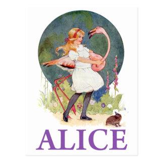 ALICE PREPARES TO  PLAY FLAMINGO CROQUET POSTCARD