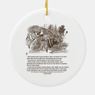 Alice Red Queen Running To Stay In Same Place Round Ceramic Decoration